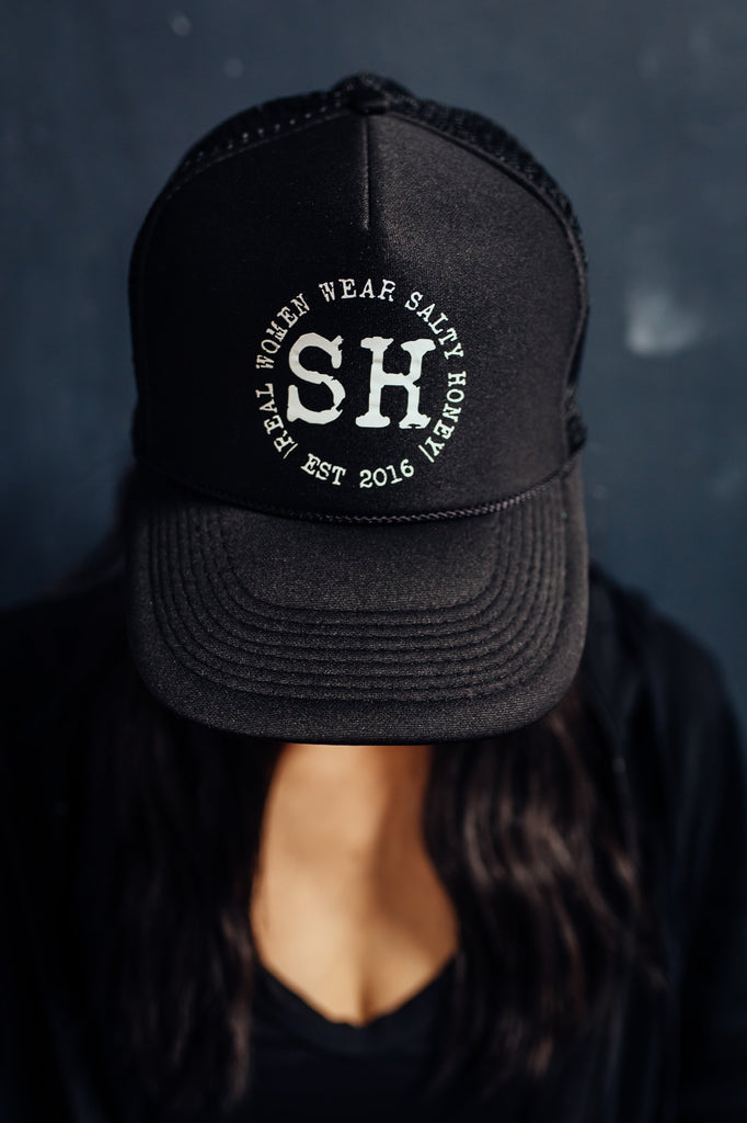 SH Circle Trucker Hat in Black