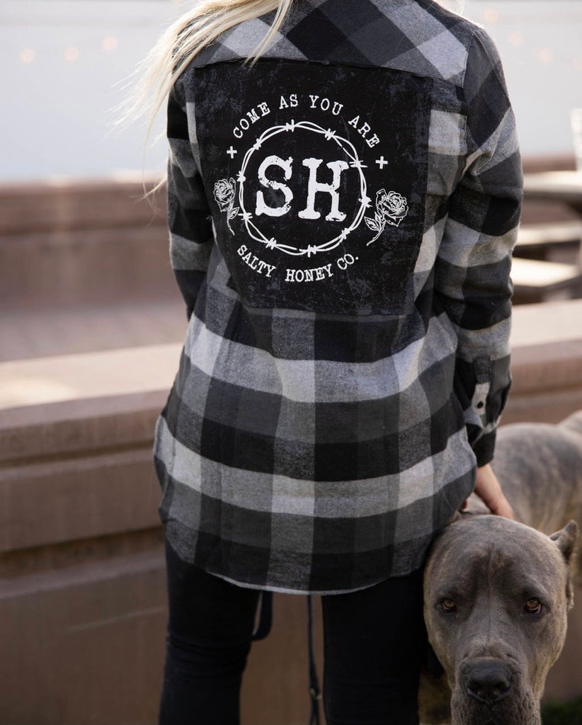 FLANNEL in grey/black