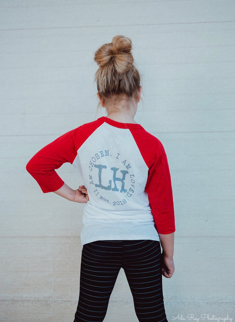 LH baseball tee with red sleeves