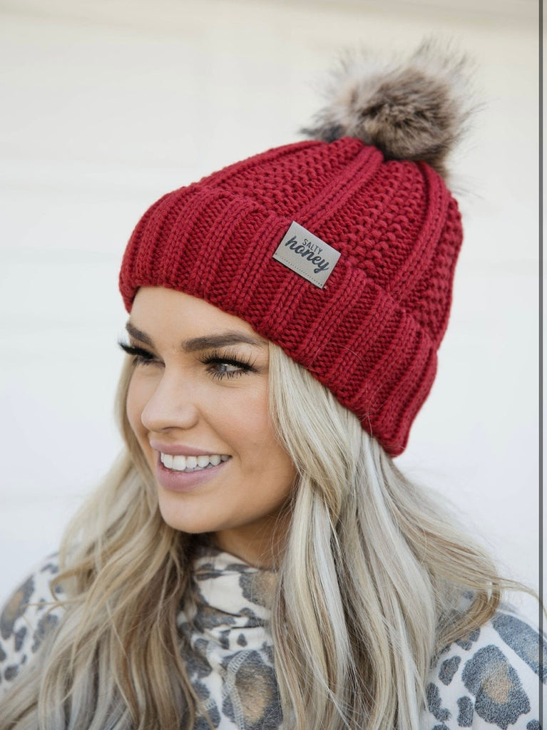 SOLID RED Fur Pom Beanie