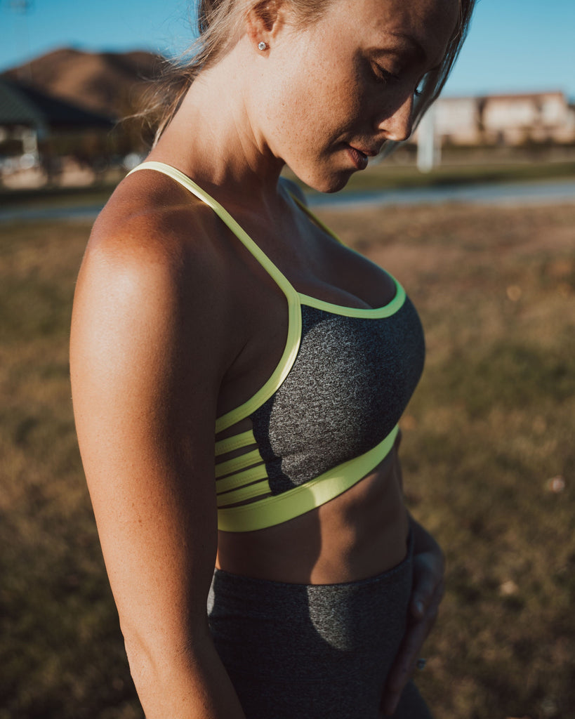 UNITY bra in neon yellow+grey+white