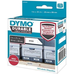 Dymo 1976200 LW Durable Labels 25mm X 89mm White Polypropylene Roll 100