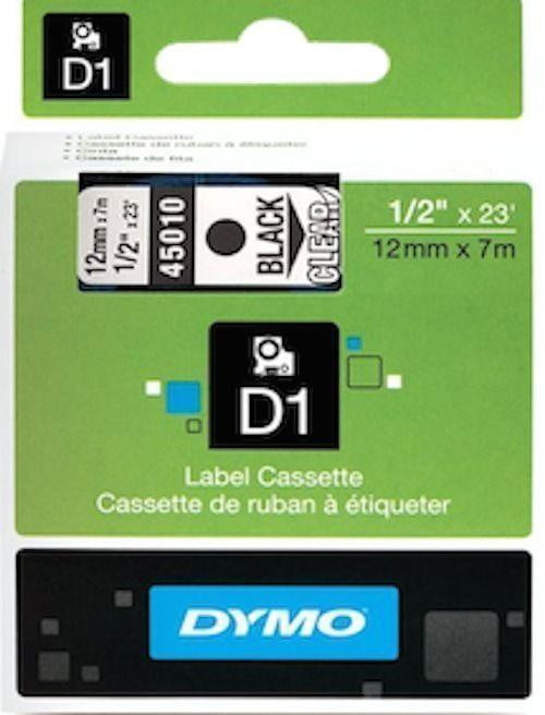 DYMO D1 LABEL 9mm x 7m - Black on Clear 40910