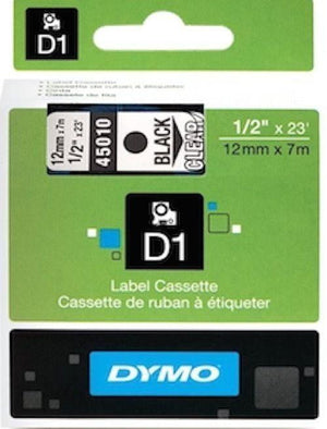 DYMO D1 LABEL 12mm x 7m - Black on Clear 45010