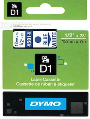 DYMO D1 LABEL 12mm x 7m - Blue on White 45014