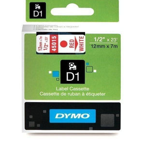 DYMO D1 LABEL 12mm x 7m - Red on White 45015