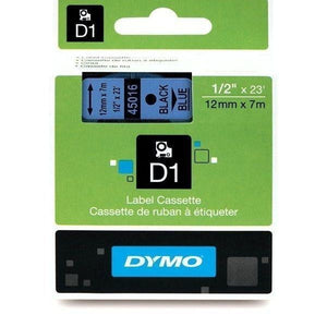 DYMO D1 LABEL 12mm x 7m - Black on Blue 45016