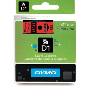 DYMO D1 LABEL 12mm x 7m - Black on Red 45017