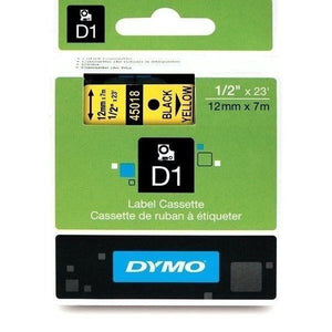 DYMO D1 LABEL 12mm x 7m - Black on Yellow 45018