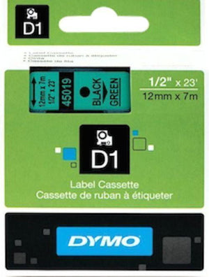 DYMO D1 LABEL 12mm x 7m - Black on Green 45019