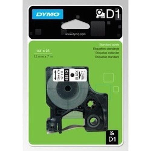 DYMO D1 LABEL 12mm x 7m - White on Black 45021