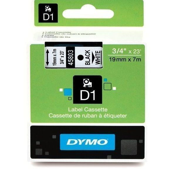 DYMO D1 LABEL 19mm x 7m - Black on WHITE 45803