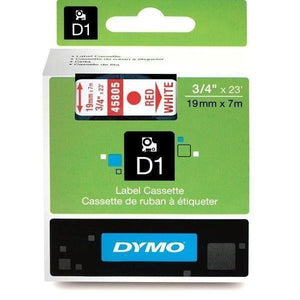 DYMO D1 LABEL 19mm x 7m - Red on WHITE 45805