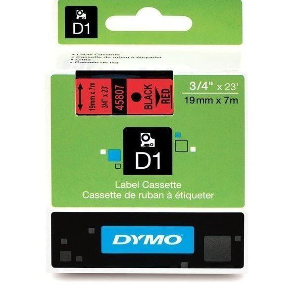 DYMO D1 LABEL 19mm x 7m - Black on Red 45807