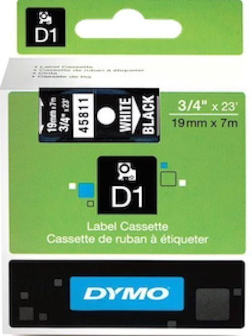 DYMO D1 LABEL 19mm x 7m - White on Black 45811