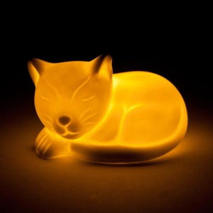 Cat White Ceramic LED Night Light Lamp