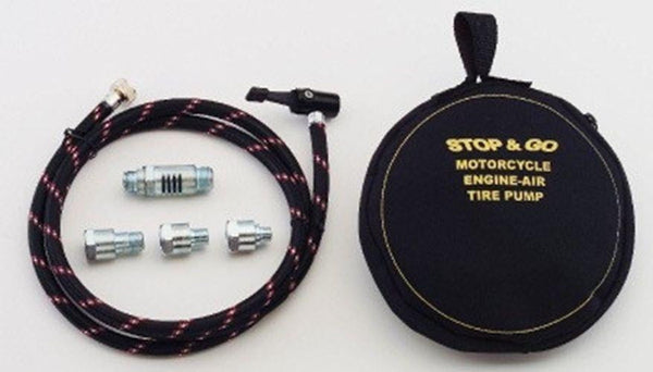 Stop & Go Engine Powered Air Pump for Motorcycles - 5 ft Hose with Quick-Release Lever
