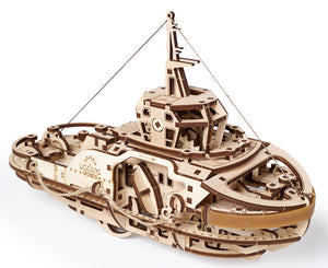 UGears 70043 Mechanical Wooden 3D Puzzle / Model Functional Tugboat