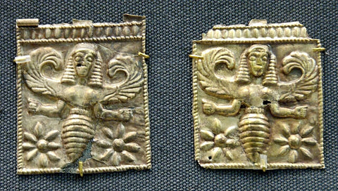 Held in the British Museum, these ancient gold plaques which depict bee goddesses, allegedly the Thriai, were discovered at Camiros, Rhodes, and date back to the 7thcentury BCE.