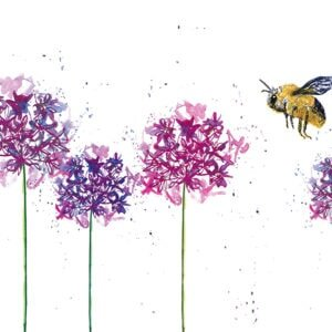 Calligraphy - bee and flowers