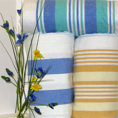 flannel blankets white with multi stripe