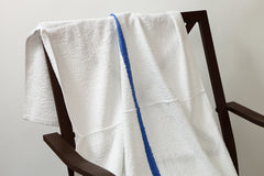 pool towel white with blue center stripe