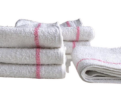 White towels with 2 pink stripes