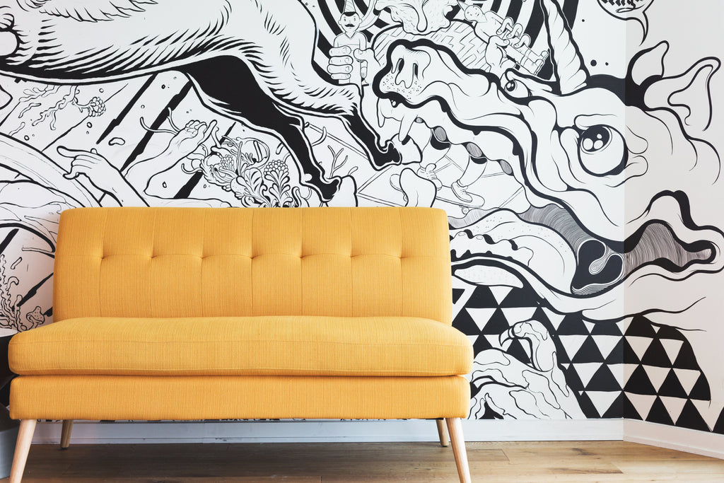 yellow futon couch