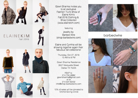 Elaine Kim Dallas Fall 2016 Trunk Show with barbedwire jewelry. 10/27/16