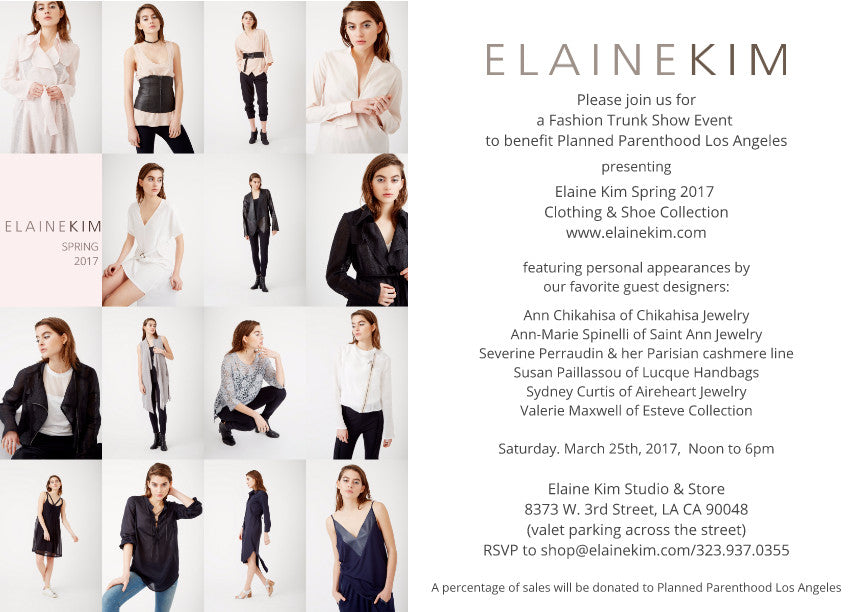 Planned Parenthood Benefit Trunk Show at Elaine Kim. Saturday March 25th, 12-6pm  Special designs from Ann Chikahisa, Sydney Curtis, Esteve, Lucque Handbags + more