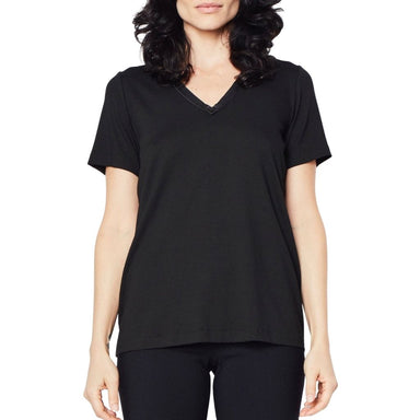 Jersey V-Neck T-Shirt with Leather Neckline Trim - RAYSHAN