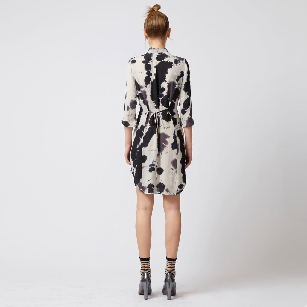 white/black watercolor hand dyed tunic length 3/4 sleeve silk georgette dress with self ties by Elaine Kim
