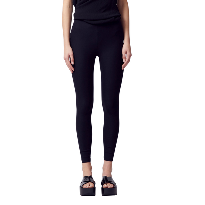 Tech Stretch Leggings w/ Leather Trim - ITAL