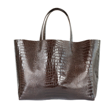Stamped Croco Leather Tote - SILLA