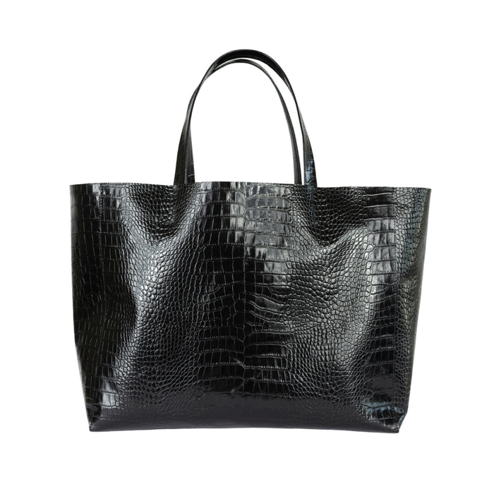 Leather Stamped Croco Tote Silla