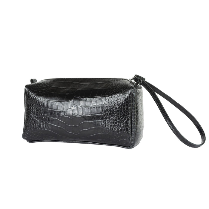 Stamped Croco Leather Zipper Bag - SIMI