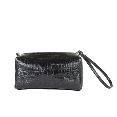 Leather Stamped Croco Zipper Bag Simi