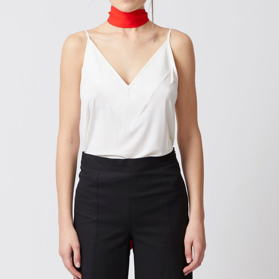 white jersey v neck camisole with wide leather trim