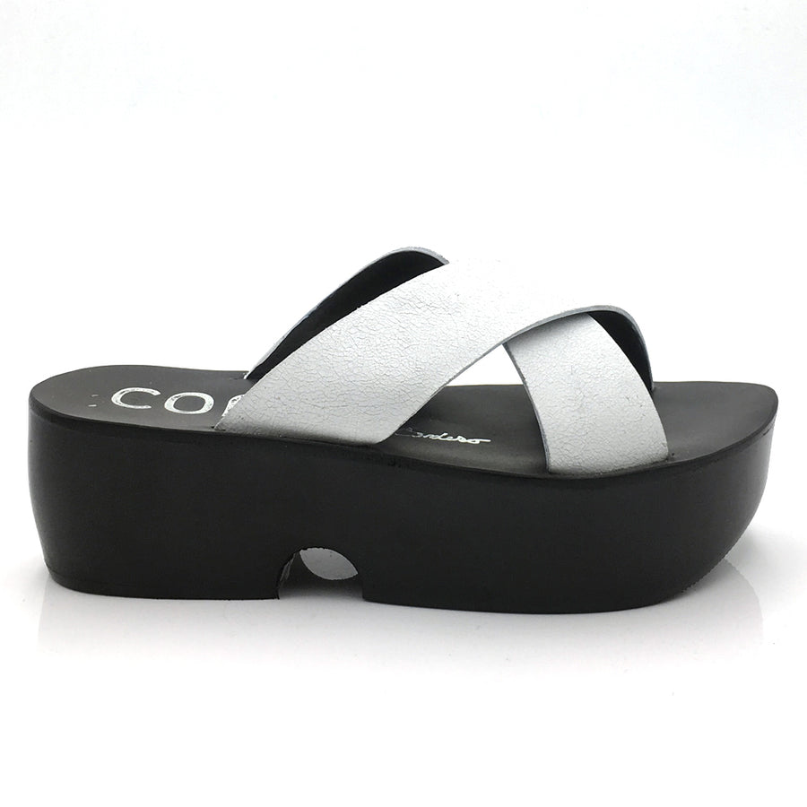 White crossover leather strap platform sandal by COR Coleen Cordero for Elaine Kim