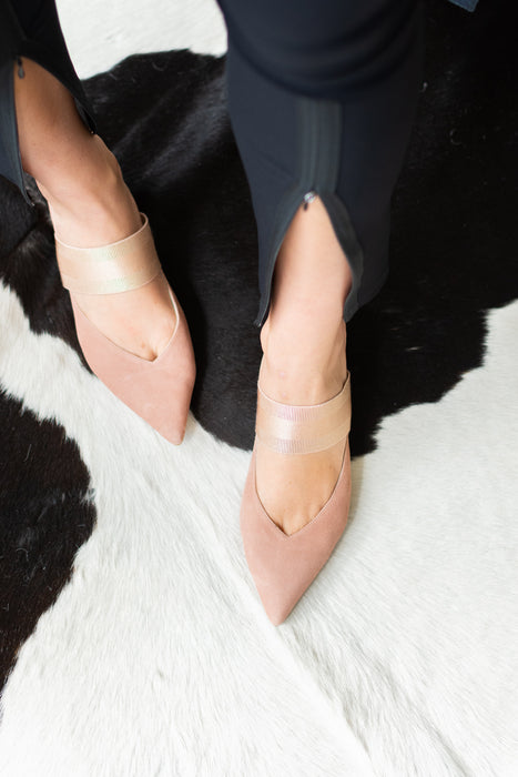 Pointy Toe Mule in Rose Suede with Elastic Strap SYDEL by Elaine Kim