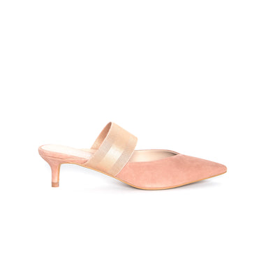 Pointy Toe Mule in Rose Suede with Elastic Strap - SYDEL