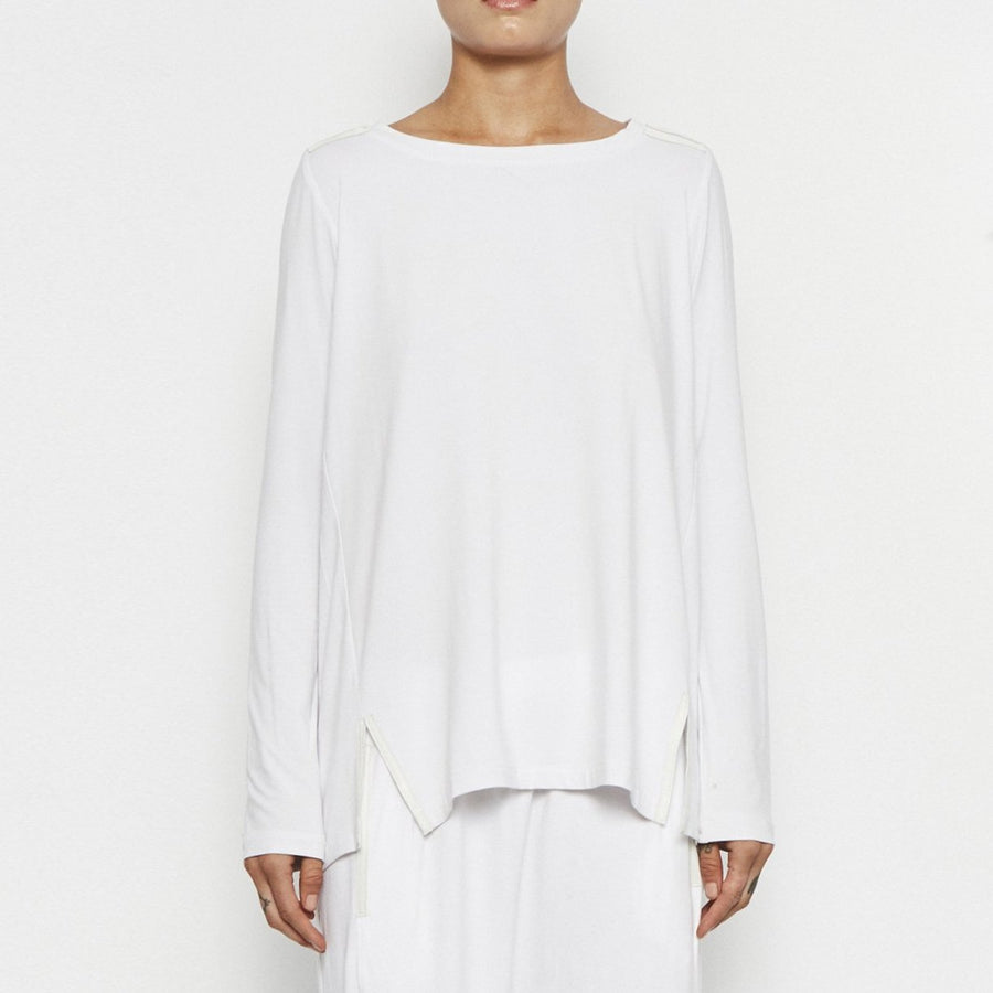 Oliver High-Low Jersey Tunic W/ Leather Trim by Elaine Kim-Top-Elaine Kim-White-Elaine Kim Studio