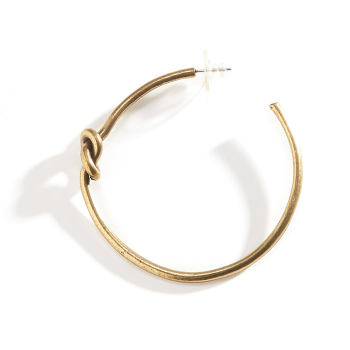 Large Hoop Earring with Knot - Brass Plated