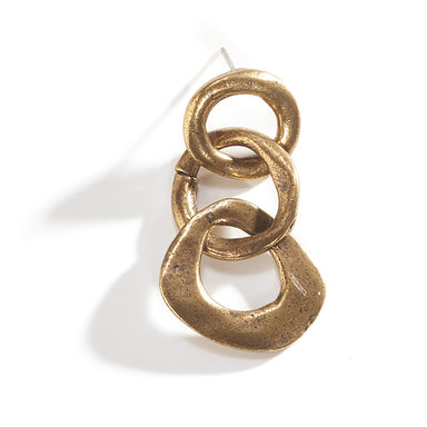 3 Circle Drop Earring - Brass Plated
