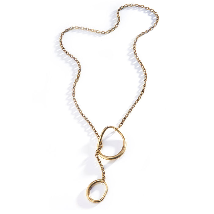 Double Circle Lariat - Brass Plated