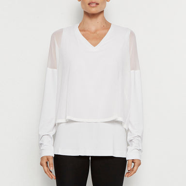 Quantum V-neck Jersey Top w/ Silk Chiffon Overlay-Top-Elaine Kim-Elaine Kim Studio-travel wardrobe-office casual-independent designer