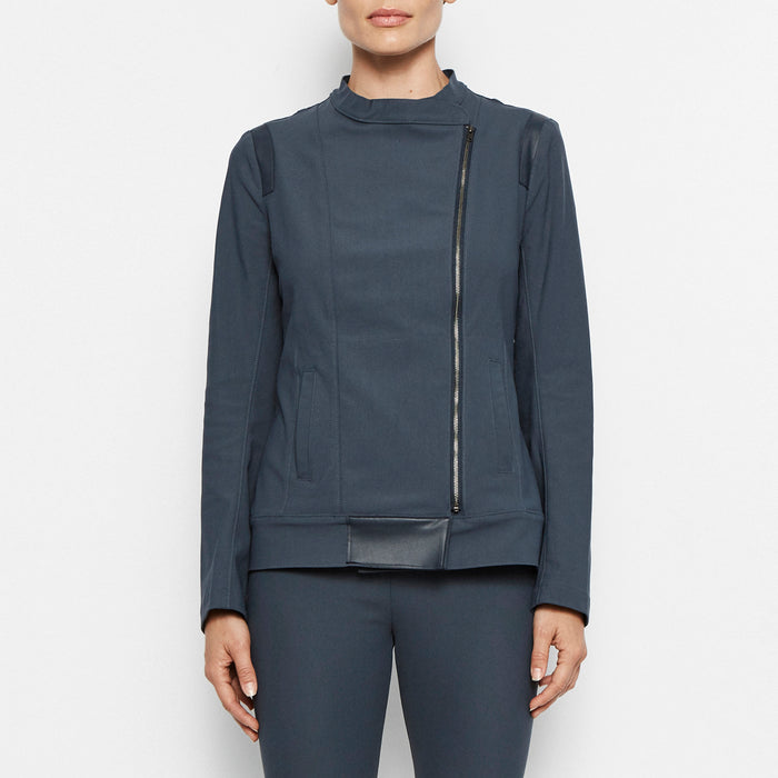 Quest Tech Stretch Moto Jacket-Jacket-Elaine Kim-Steel-Elaine Kim Studio
