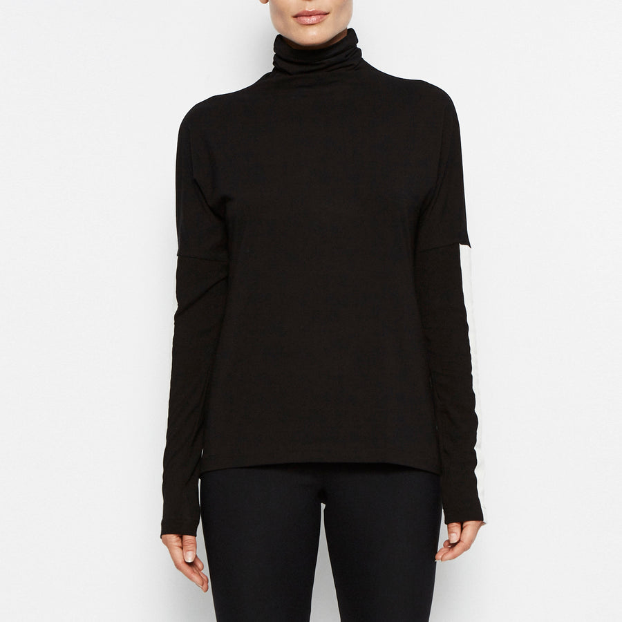 Quinton Jersey Turtleneck w/ Leather Trim