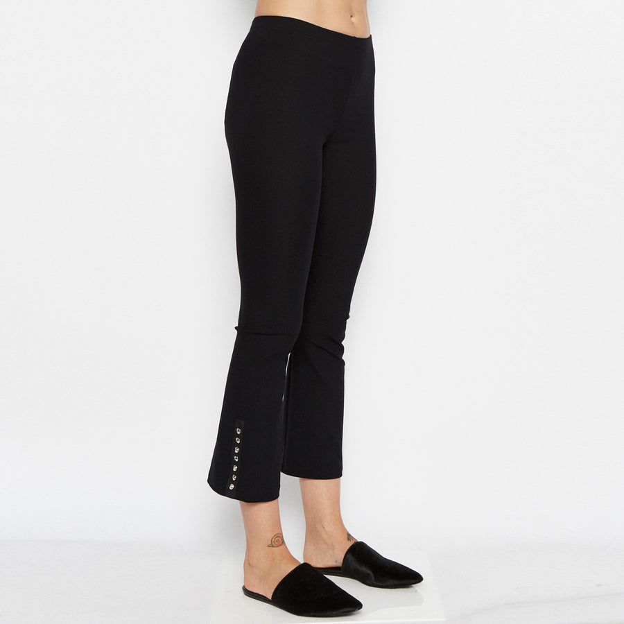 Quita Cropped Flare Tech Stretch Legging w/ Ankle Studs-Pant-Elaine Kim-Black-Elaine Kim Studio