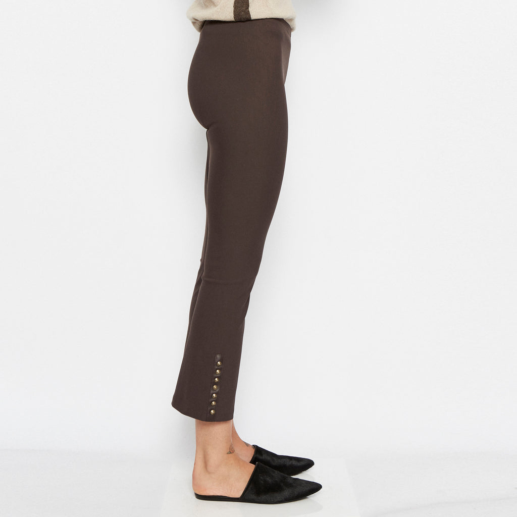 Quita Cropped Flare Tech Stretch Legging w/ Ankle Studs-Pant-Elaine Kim-Elaine Kim Studio